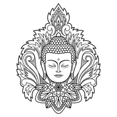 Buddha Head on Floral Background
