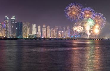 Fireworks over Dubai Marina JBR as part of the UAE National Day celebrations.