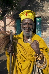 Portait of a Holy man on pilgrimage in Gonder, Gonder, Ethiopia