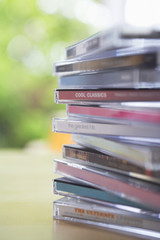 Closeup of CD jewel cases on table