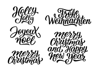 Merry Christmas and Happy New Year vector lettering set with french, english and german greetings. Holly Jolly, Frohe Weihnachten and Joyeux Noel calligraphic text.