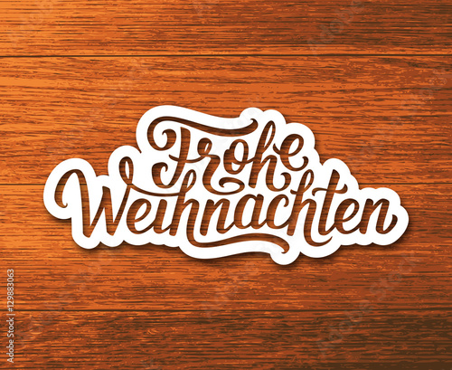 frohe weihnachten deutsch text on white paper label with. Black Bedroom Furniture Sets. Home Design Ideas
