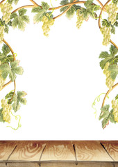 Frame of grape vines. Table. Background. Watercolor template