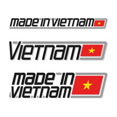 "Vector illustration logo ""made in Vietnam"", three isolated vietnamese simple flags drawings with gold star, national state flag and text vietnam republic on white, official ensign banner asian country"