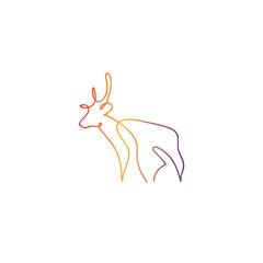 One line deer design silhouette. Hand drawn minimalism style vector illustration