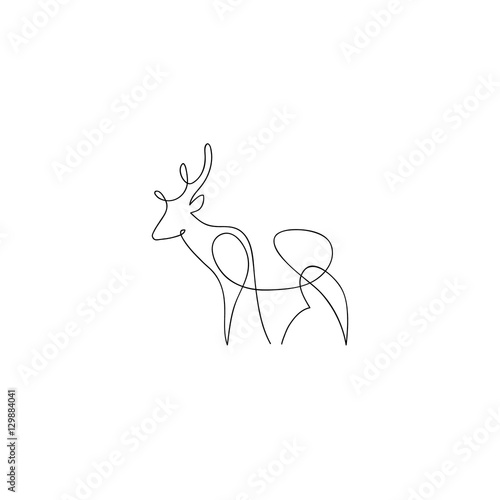 Line Drawings Of Animals Deer : Quot one line deer design silhouette hand drawn minimalism