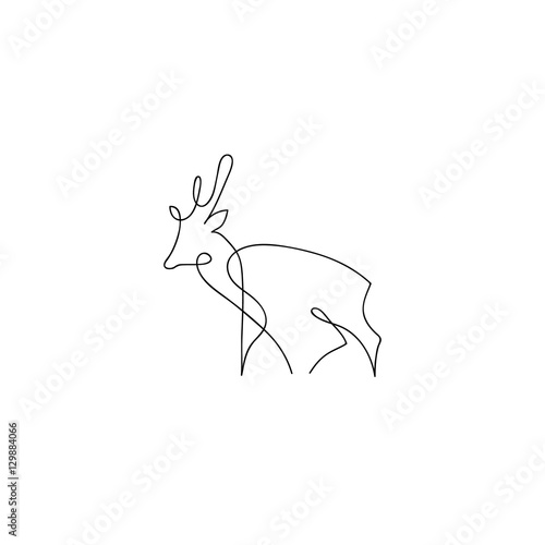 Single Line Drawings Of Animals : Quot one line deer design silhouette hand drawn minimalism