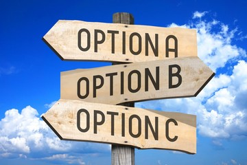 Options A, B, C - wooden signpost