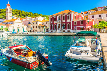 Colors of Mediterranean / View at amazing mediterranean colorful scenery in small coastal town by the sea. Wall mural