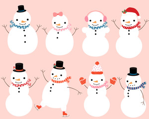 Cute snowman characters with winter scarves, hats and mittens