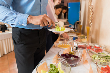 People Group Catering Buffet Food Restaurant Table, Business Banquet At Company Event Celebration