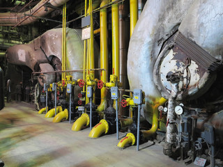 Gas steam generator, machinery, pipes, tubes at a power plant