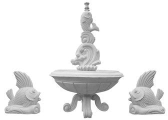 Classic stone fountain basin isolated over white