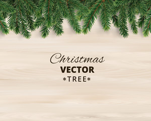 Christmas tree branches on wooden background, vector illustration