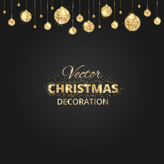 Black and gold Christmas background with glitter decoration.