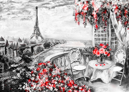 Oil Painting Summer Cafe In Paris Gentle City Landscape Abstract Flower View