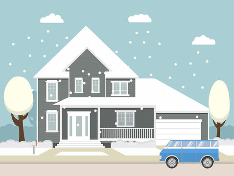 Merry Christmas and Happy New Year Background.Winter city landscape. The flat picture with the image of the house with the garage and trees standing at the road.