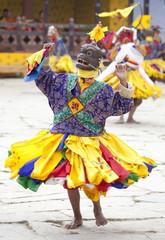 Buddhist monks performing masked dance during the Gangtey Tsechu at Gangte Goemba, Gangte, Phobjikha Valley, Bhutan, Asia