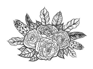 Blackwork tattoo of rose and feathers bouquet. Very detailed vector illustration. Boho design for print, posters, t-shirts