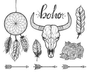 Set of Boho elements. Bull skull native Americans tribal style. Tattoo blackwork. Vector hand drawn illustration.