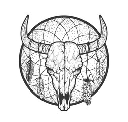 Bull skull with feathers native Americans tribal style. Tattoo blackwork. Vector hand drawn illustration. Boho design