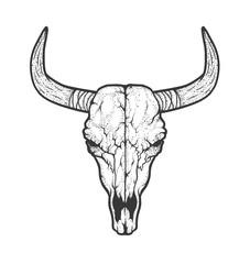 Bull skull native Americans tribal style. Tattoo blackwork. Vector hand drawn illustration. Boho design
