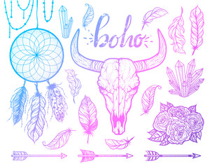Set of Boho elements. Bull skull native Americans tribal style. Tattoo blackwork. Vector hand drawn illustration.