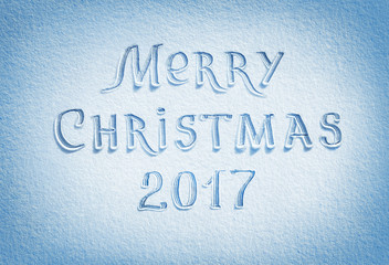 Merry Christmas! Background of fresh snow texture in blue tone. High resolution product, top view