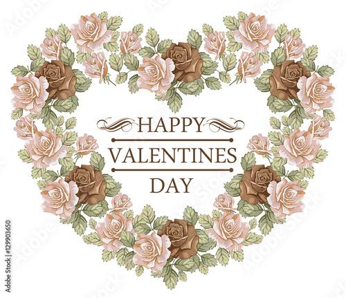 Holiday Frame Happy Valentines Day Heart Wedding Invitation Flowers