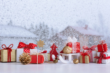 Christmas small gift boxes and Christmas decorations on the wind