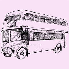 double-decker London Bus, doodle style sketch illustration hand drawn vector