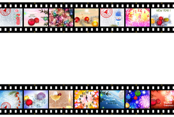 Christmas and New Year Celebration. Festive images designed in film strip. Isolated on white backgroundWinter Holidays. Christmas tree decorations. Fireworks,fairy stars and sparkles.