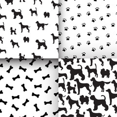 Awesome set of seamless pattern with dog silhouettes, cartoon bo