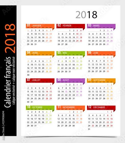 """Calendrier 2018 français avec jours fériés / Modifiable"""" Stock ..."""