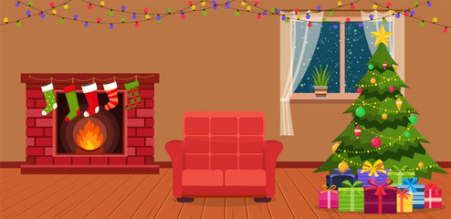 Christmas room interior with fireplace.