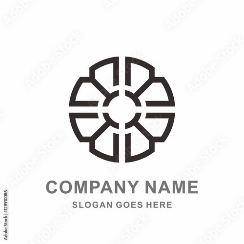 Geometric Circle Square Strips Flower Pattern Interior Motif Decoration  Business Company Stock Vector Logo Design Template