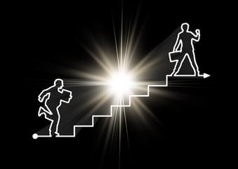 光をバックにビジネスマンと階段を線で繋ぐ