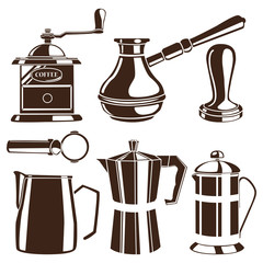Set of white hand drawn coffee cups and french press on black ch