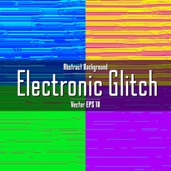 Set of abstract grunge electronic glitch colorful backgrounds
