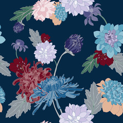 chrysanthemum vector seamless pattern