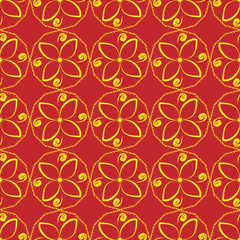 Seamless floral ornament. Abstract yellow flowers on a red background.