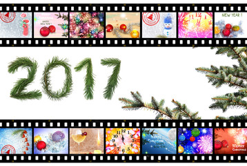 Merry Christmas. Happy New Year. Celebration. Winter Holidays. Christmas tree decorations. Fireworks,fairy stars and sparkles. Festive images designed in film strip. Isolated on white background
