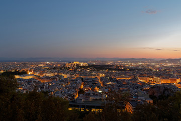 Athens Greece, panoramic view in the dusk