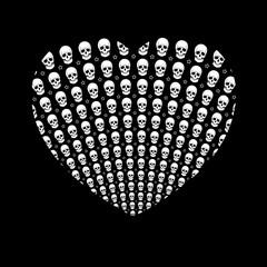 SKULL HEART. VALENTINE'S DAY. Black, white. White background. Black background