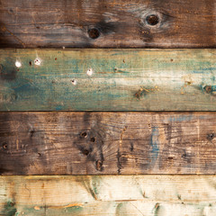 Blue, brown and grey wooden wall background, square
