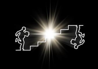 光をバックにビジネスマンと階段を一本の線で繋ぐ