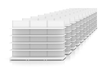 Clean white racks shelves for products showing