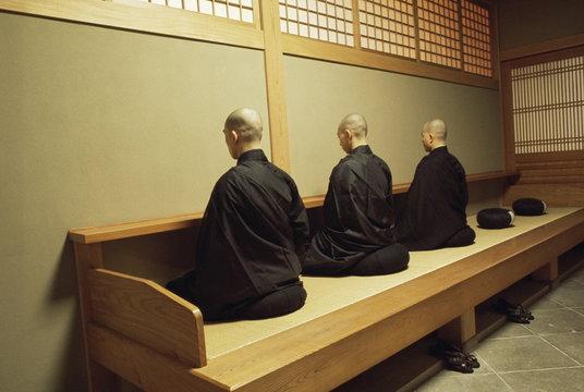 Monks during Za-Zen meditation in the Zazen Hall, Elheiji Zen Monastery, Japan