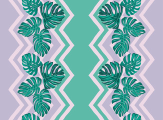 Tropical leaves. Print with decorative tropical leaves.