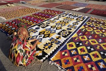 Carpet market, Old City walls, Bukhara, Uzbekistan, Central Asia, Asia